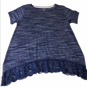 Poof! Girls Blue Boho Loose Top Blue Lace